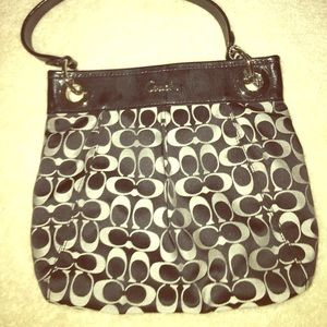 Women's black and grey coach purse